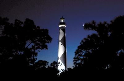 Lookout light at night