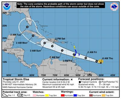 Elsa approaching U.S. coast, heavy rain forecast for Friday