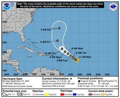 Forecasters predict Hurricane Sam will stay away from North Carolina coast