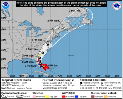 Isaias weakens to tropical storm, may regain strength