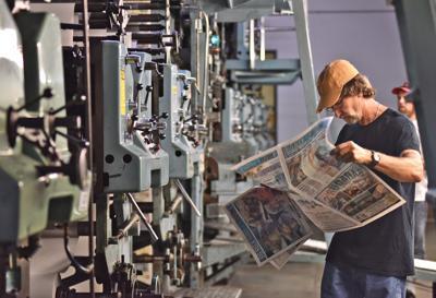 Paper shutters Morehead City pressroom