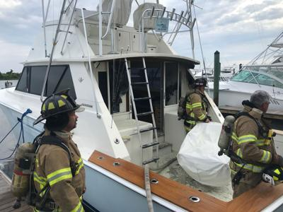 Crews respond to boat fire at Morehead City Yacht Basin Thursday morning