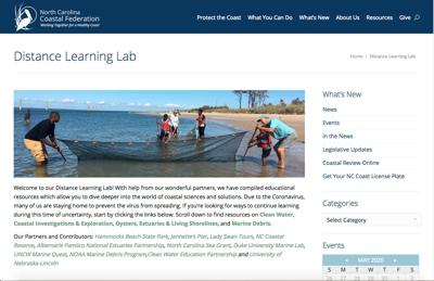 NC Coastal Federation offers virtual learning opportunities