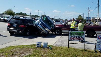 Three-vehicle pileup