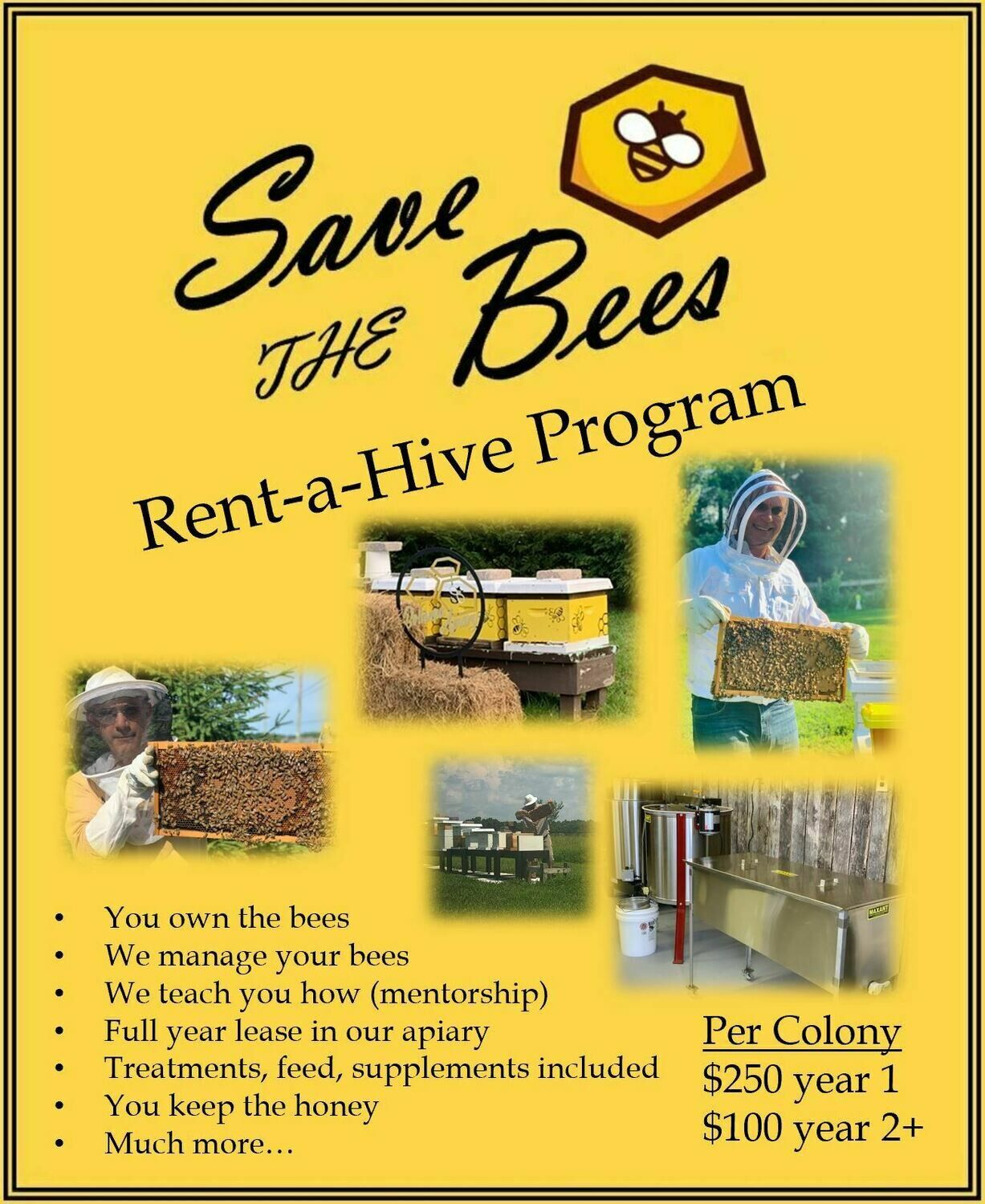 Learn about beekeeping when you Rent-a-Hive