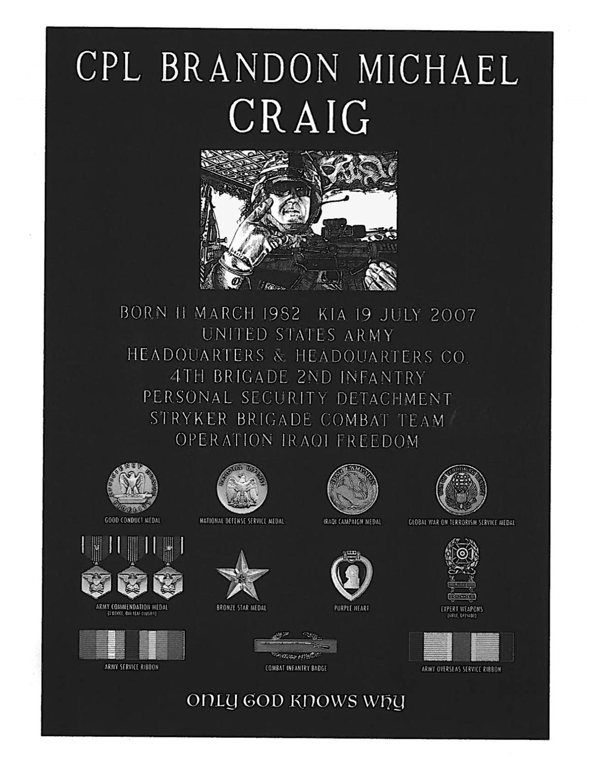 Cpl. Craig monument