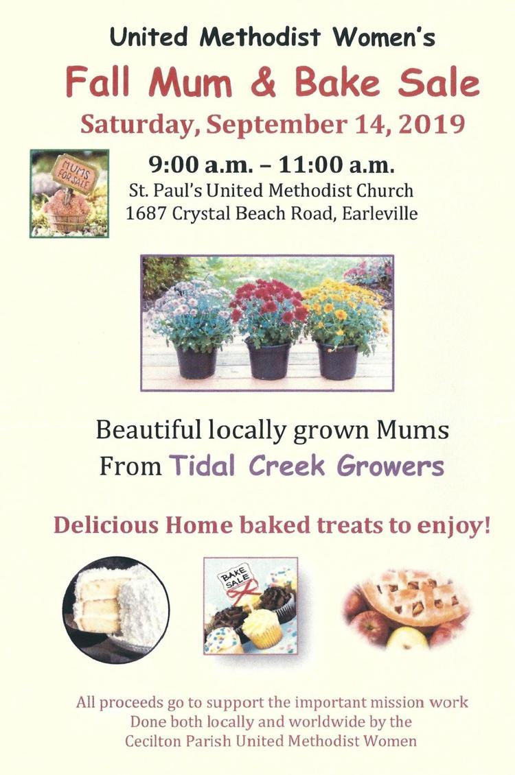 "The Cecilton Parish United Methodist Women's annual ""Fall Mum & Bake Sale"""