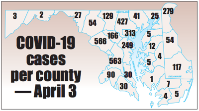 COVID-19 cases by county - April 3