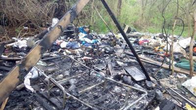 Homeless encampment fire