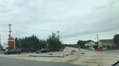 Light pole down at Fletchwood and Elkton roads