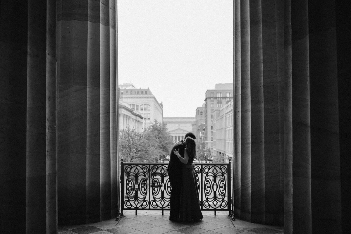 A couple stand solo at their wedding