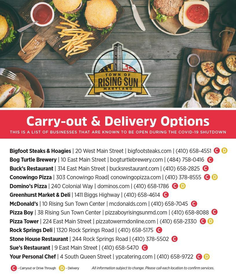 Rising Sun take out options