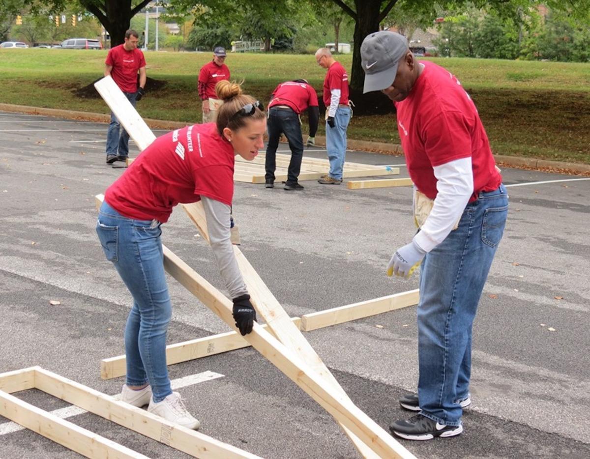 Volunteers at panel build