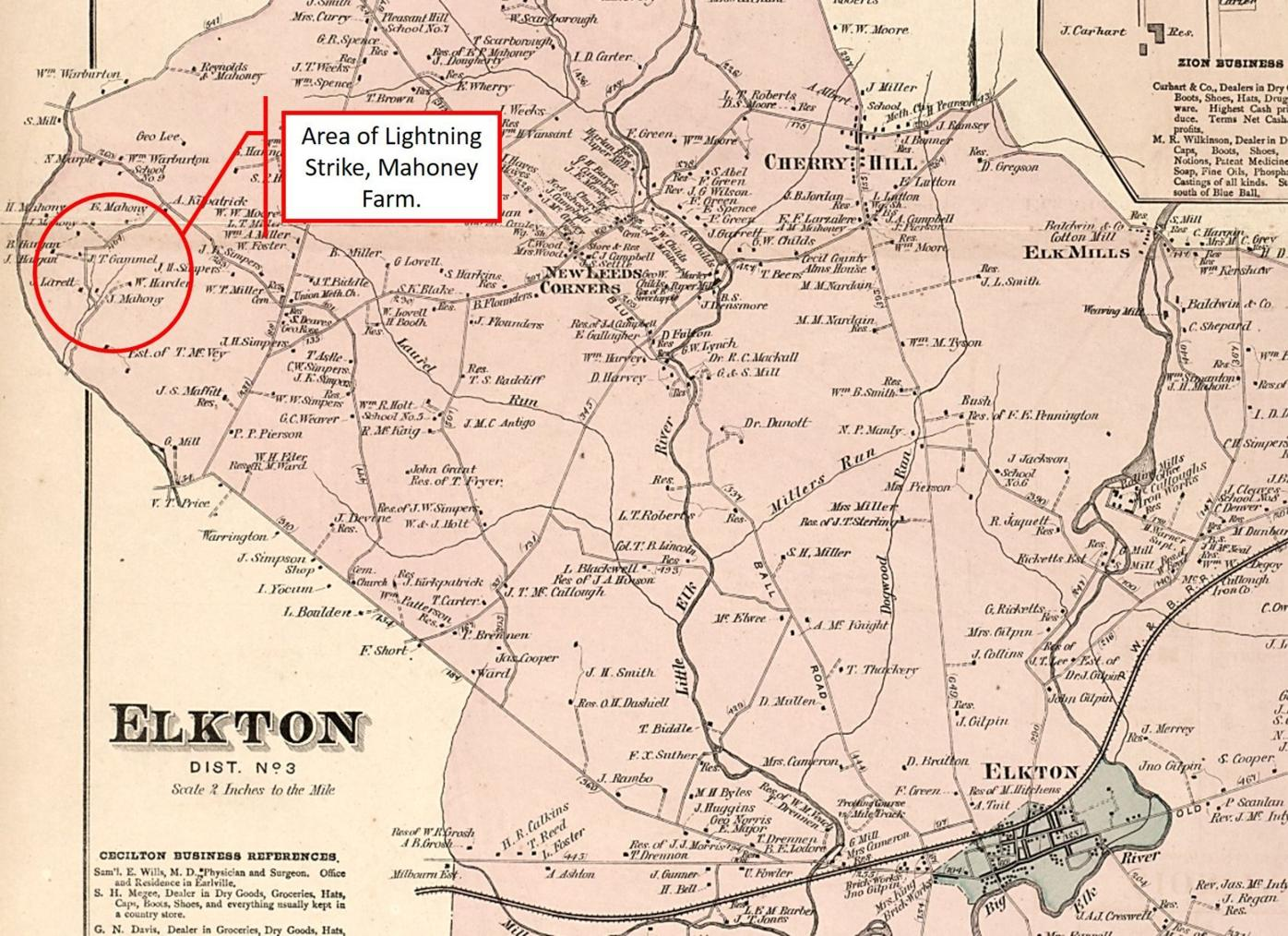 Lightning Strike Location from an illustrated atlas of Cecil County, Maryland 1877.jpg