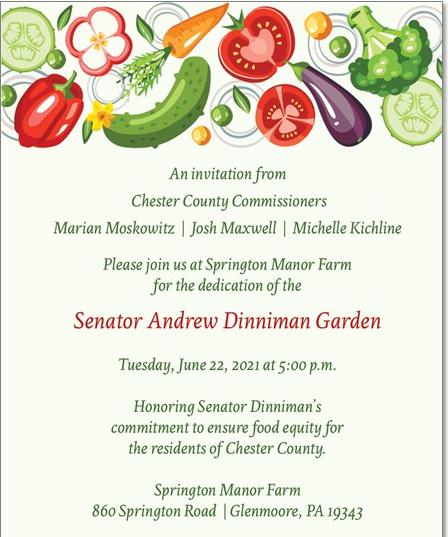 Garden to be renamed in honor of Sen. Dinniman