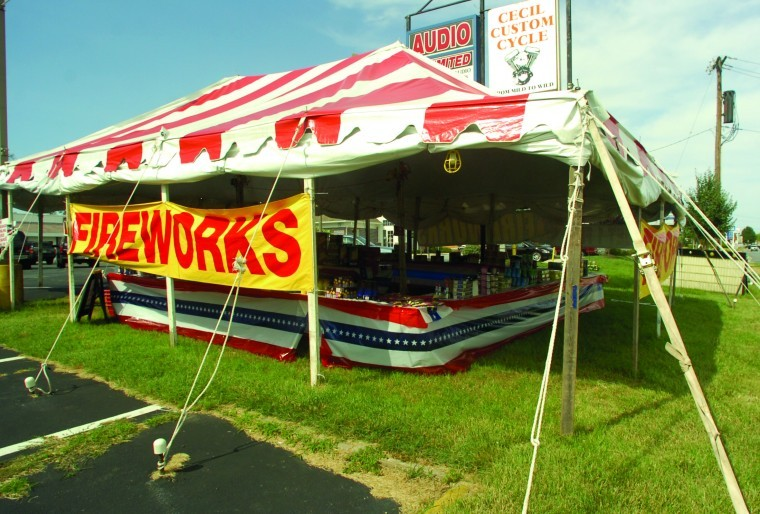 A tent set up to sell fireworks is seen Wednesday on East Pulaski Highway near Delancy Road in Elkton. & Fireworks safety tips for the holiday | News | cecildaily.com