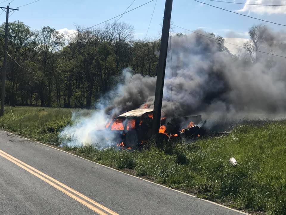 Police stop ends with crash, fire in Colora