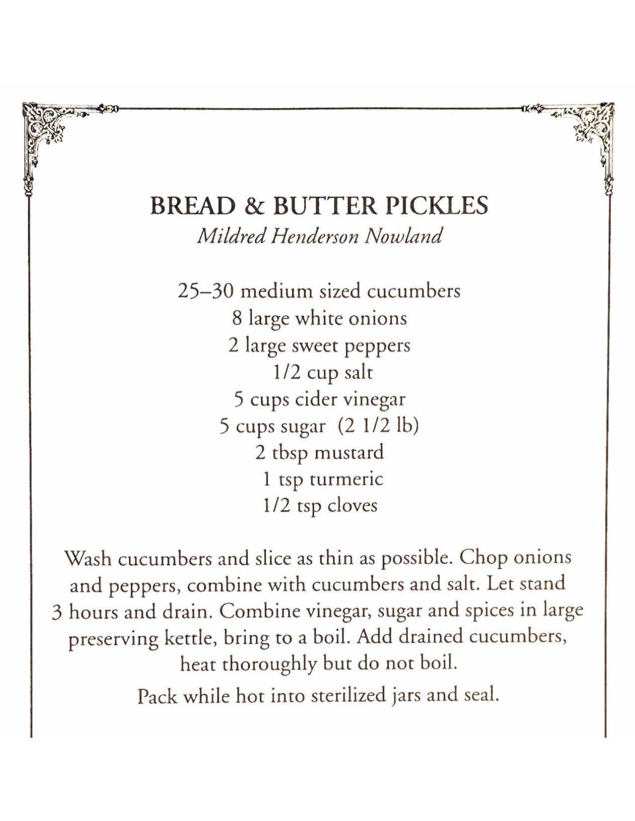 Mildred's Pickle Recipe