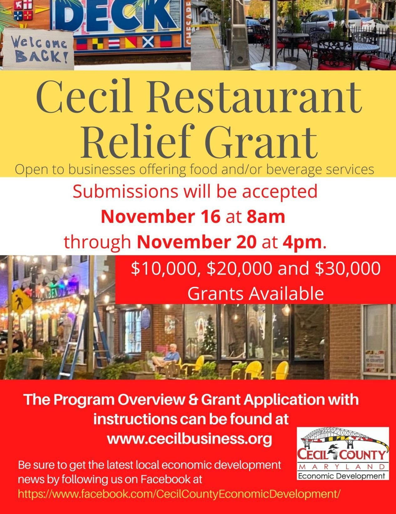 Cecil Restaurant Relief Grant applications available