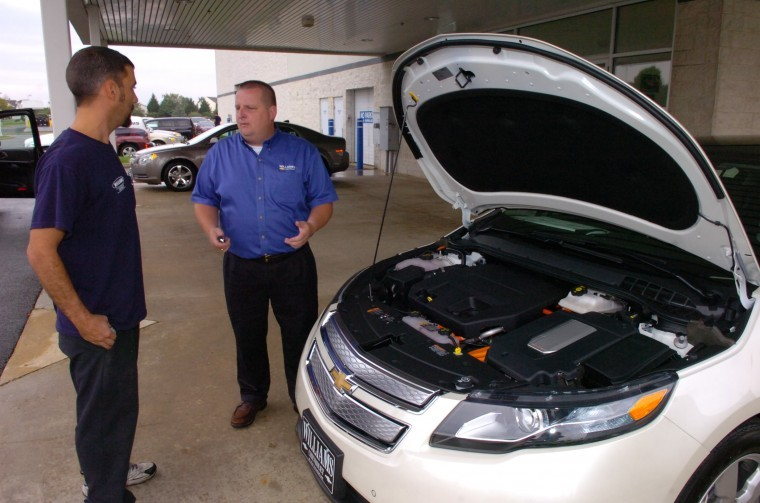 Certified Technician Ethan David And S Consultant William Little Take A Look Under The Hood Of New Chevy Volt At Williams Chevrolet Elkton