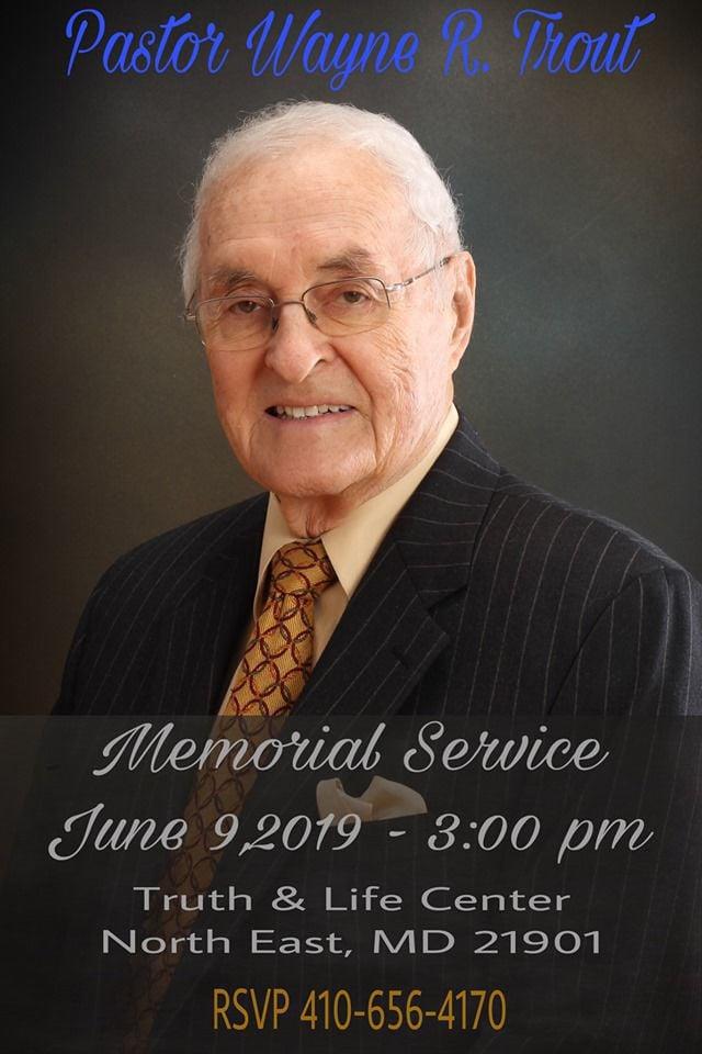 The Rev. Wayne Trout service