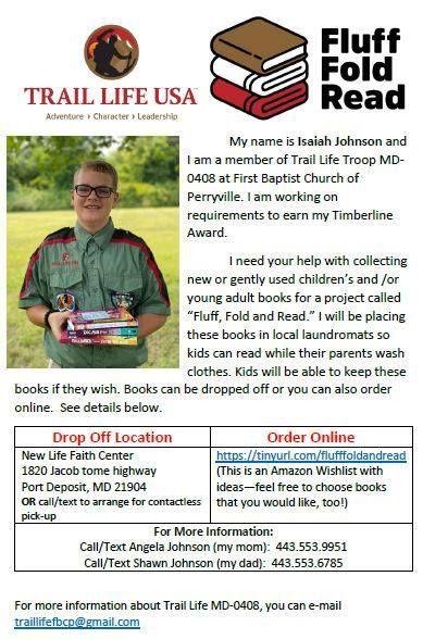 "Isaiah John wants kids to ""Fluff, Fold, Read"""
