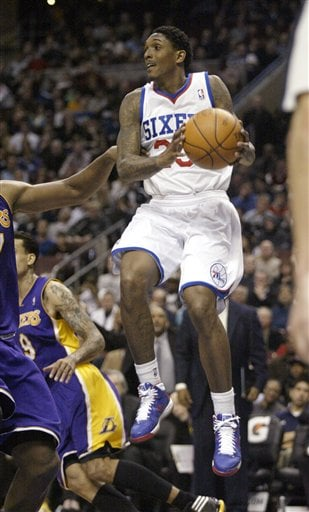 Philadelphia 76ers  Lou Williams looks to pass as he plays against the Los  Angeles Lakers in the second half Monday in Philadelphia. The 76ers won  95-90. aa42bf668