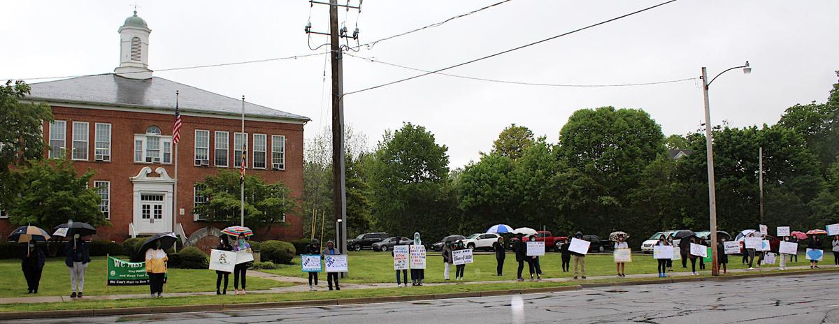 Protesters outside Board meeting '20