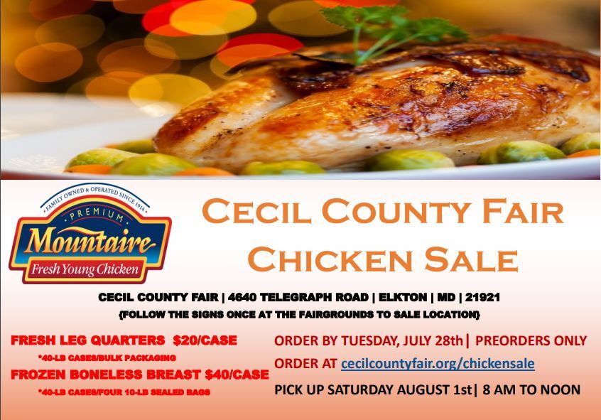 Bulk chicken sale to help the Cecil County Fair, 4-H