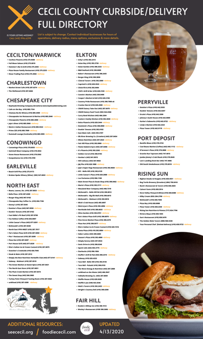 A complete list of Cecil County restaurant options during the pandemic