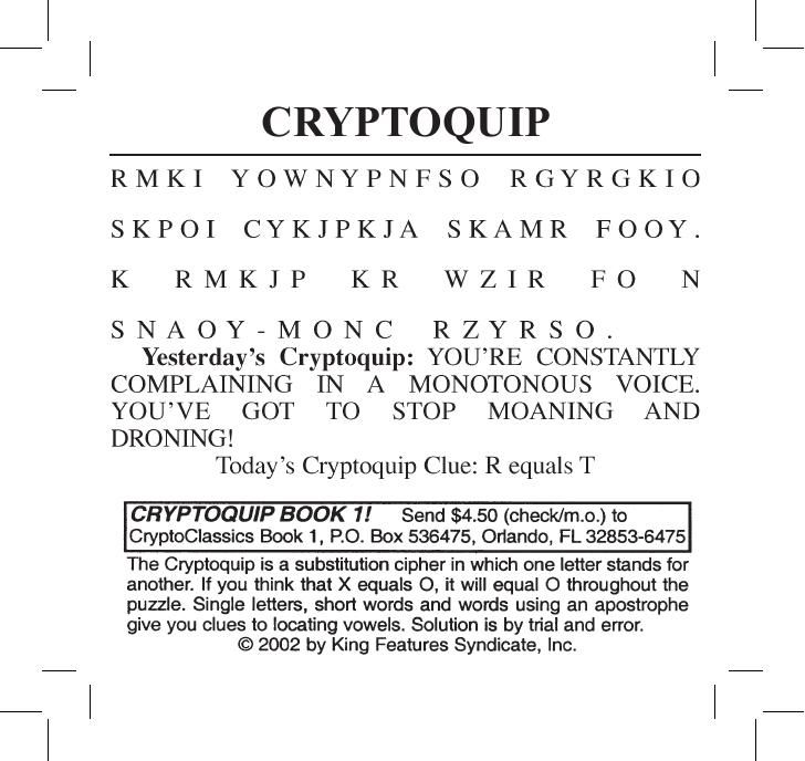 photograph about Printable Cryptoquips called Madison : Cryptoquip textbooks