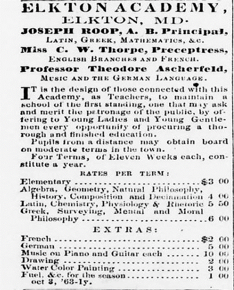 Ad for the Elkton Academy, the Cecil Whig c.1871.png