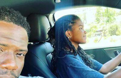 Kevin Hart teaches his daughter how to drive