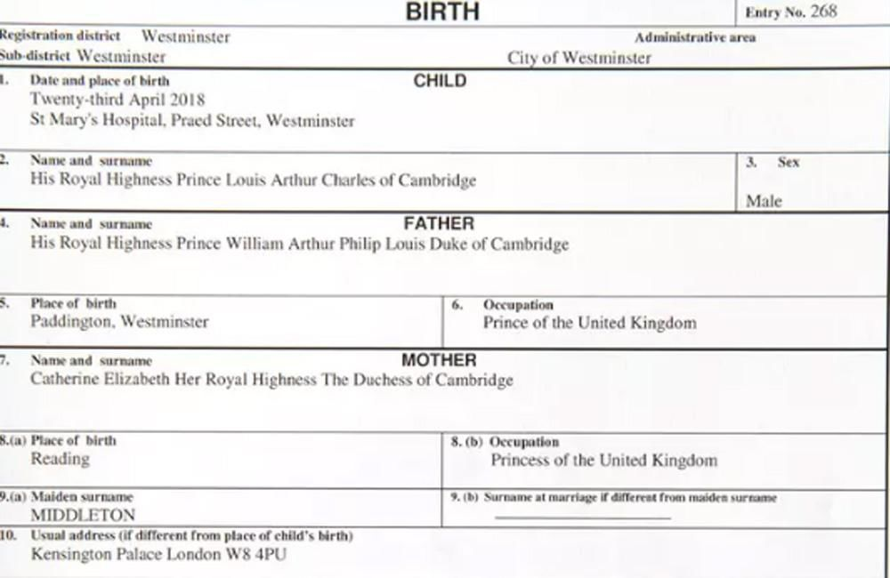 Prince Louis Arthur Charles 39 Birth Certificate Revealed