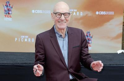 Sir Patrick Stewart gets hand and footprints immortalised in cement