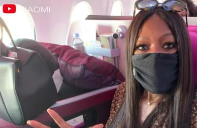 Naomi Campbell disinfects seat when she flies
