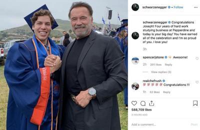 Arnold Schwarzenegger praises son at college graduation