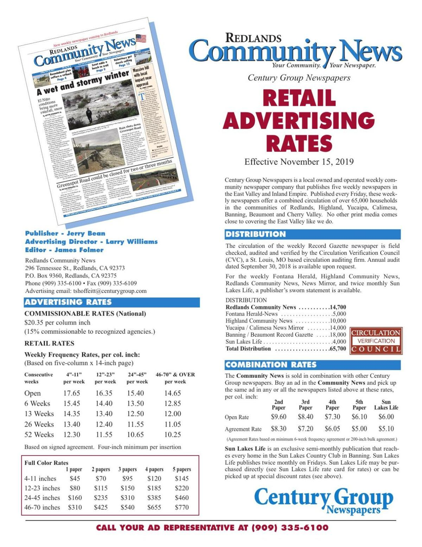 Redlands Community News - Retail Rates