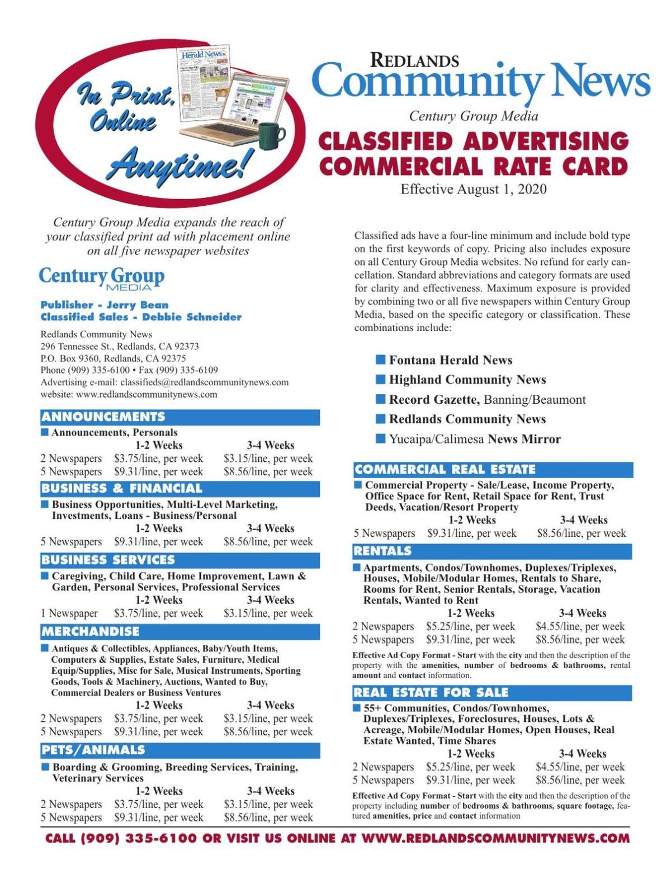 Redlands Community News - Commercial Rates