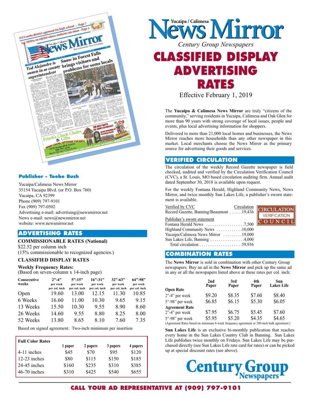 News Mirror - Classified Display Rates