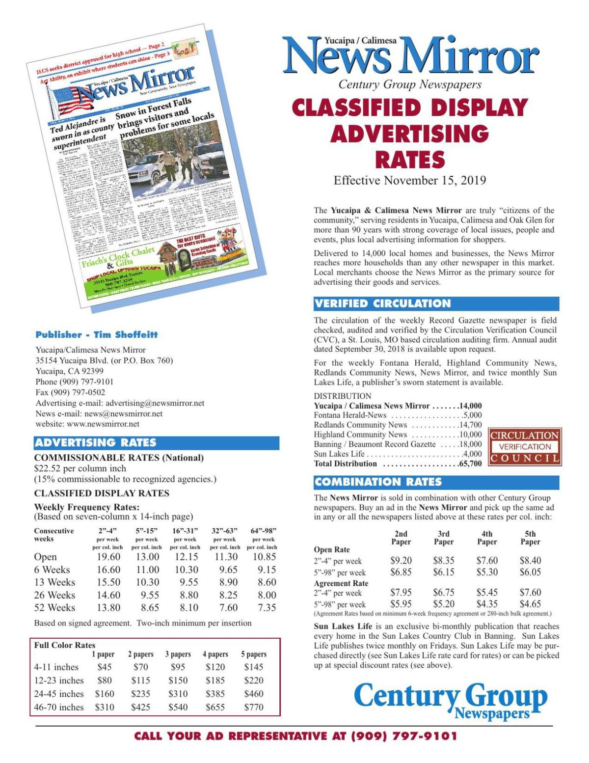 News Mirror - Classified Display Rates