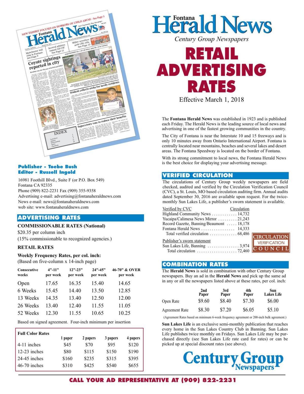 Herald News - Retail Rates