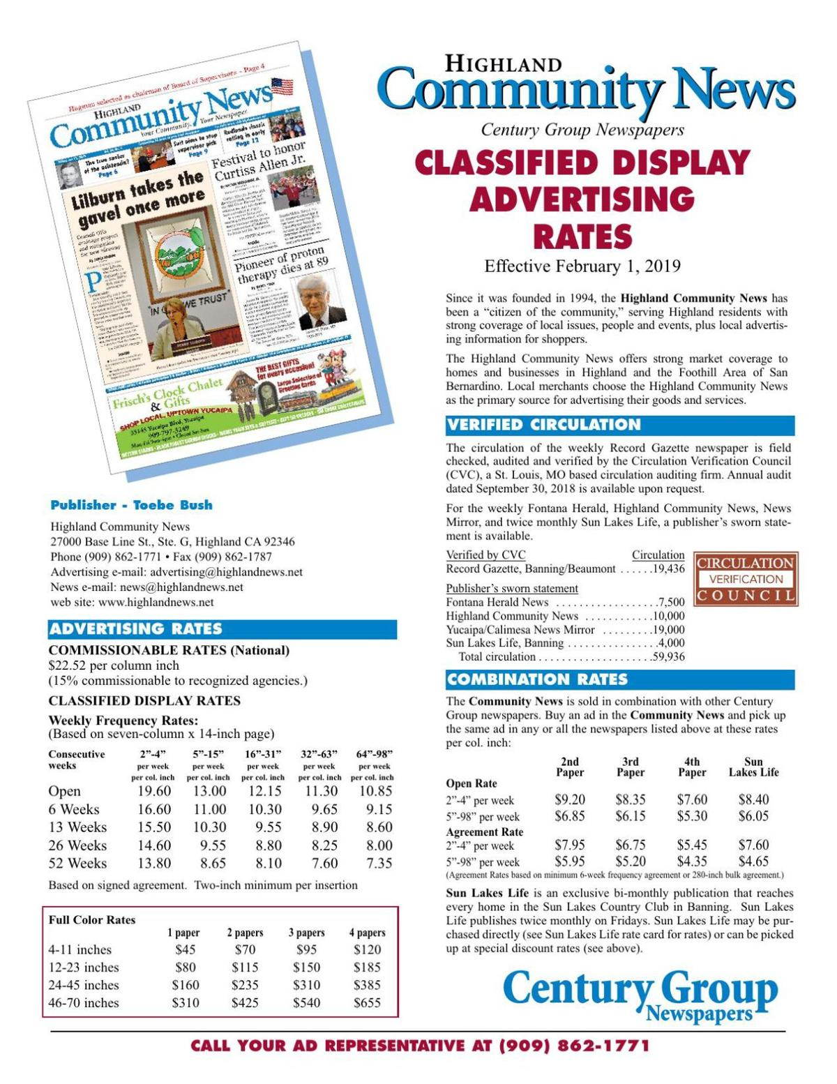 Community News - Classified Display Rates