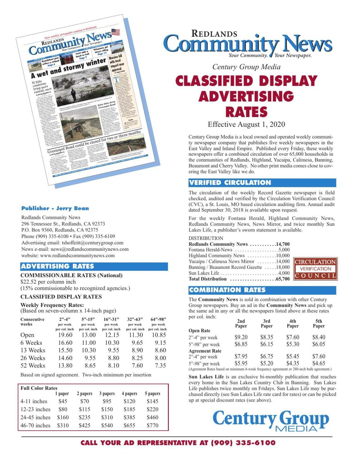 Redlands Community News - Classified Display Rates