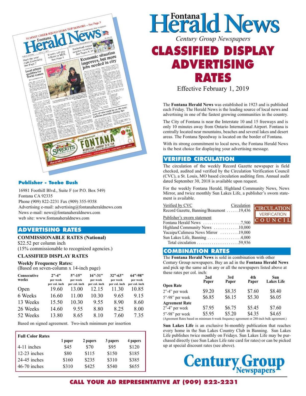 Herald News - Classified Display Rates