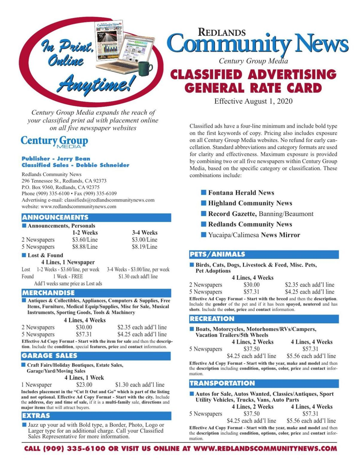 Redlands Community News - Classified General Rates