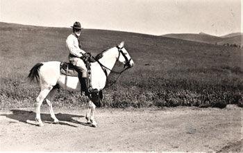 Albert Harris on horseback