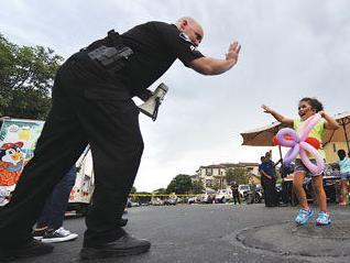 Chino Police Cpl. Jon Monroe and Belen Teran