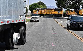 Train, semitruck collide on Yorba Avenue in Chino