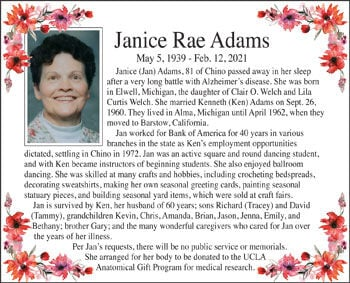 Janice Rae Adams obit